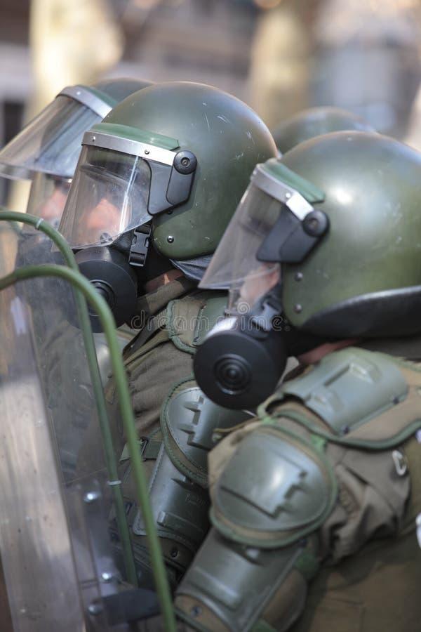 Αστυνομία ταραχής στη Χιλή στοκ εικόνες με δικαίωμα ελεύθερης χρήσης