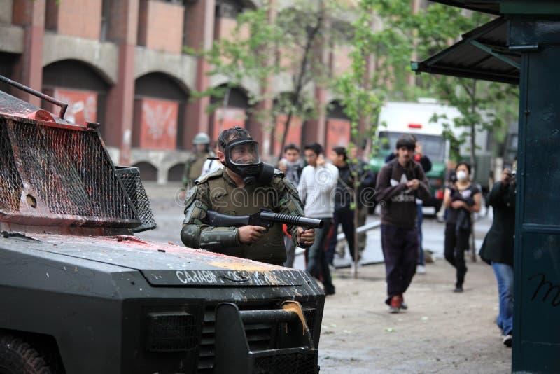 Αστυνομία ταραχής στη Χιλή στοκ εικόνες