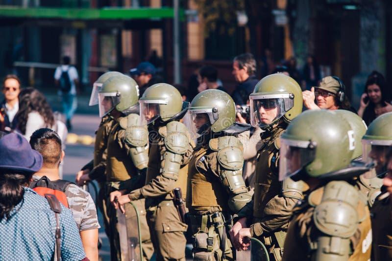 Αστυνομία ταραχής, Χιλή στοκ εικόνα με δικαίωμα ελεύθερης χρήσης