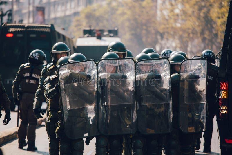 Αστυνομία ταραχής, Χιλή στοκ φωτογραφία με δικαίωμα ελεύθερης χρήσης