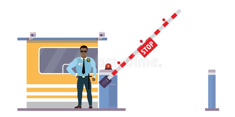 Αστυνομικός ή προστατευτικός πράκτορας κοντά στην καμπίνα ασφαλείας και πύλη με συναγερμό απεικόνιση αποθεμάτων