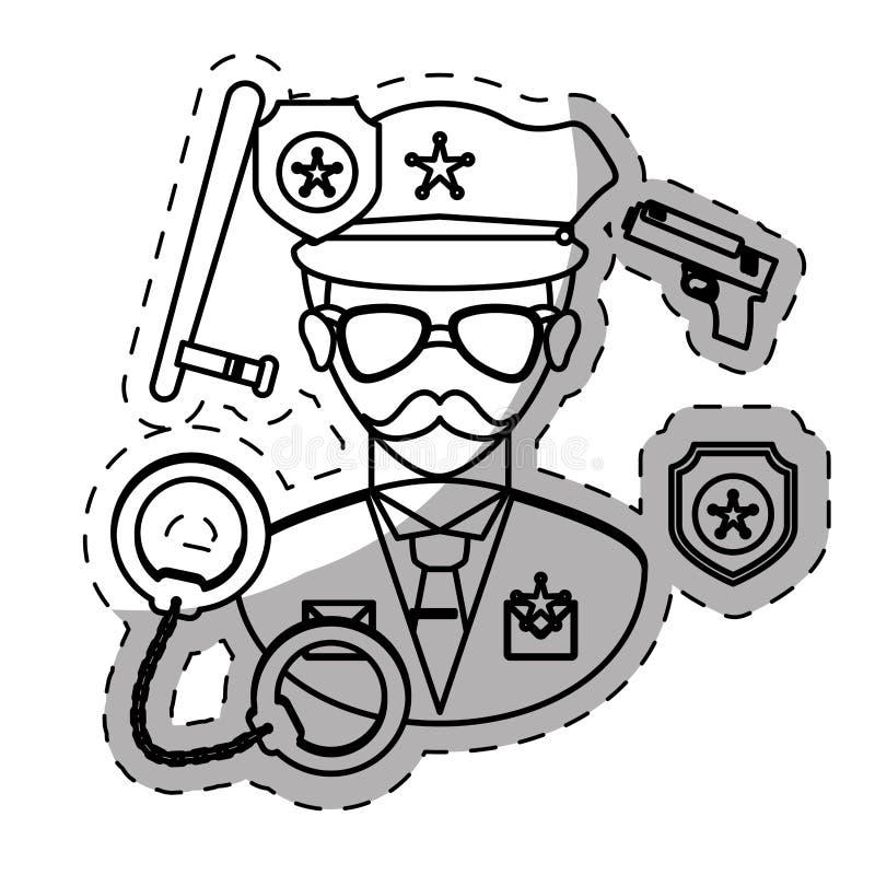 αστυνομικός αριθμού με την εικόνα εικονιδίων εργαλείων του διανυσματική απεικόνιση