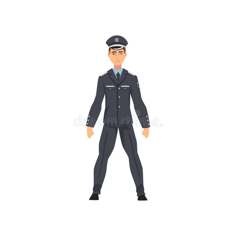 Αστυνομικός ασφάλειας, επαγγελματικός αστυνομικός στην ομοιόμορφη διανυσματική απεικόνιση διανυσματική απεικόνιση