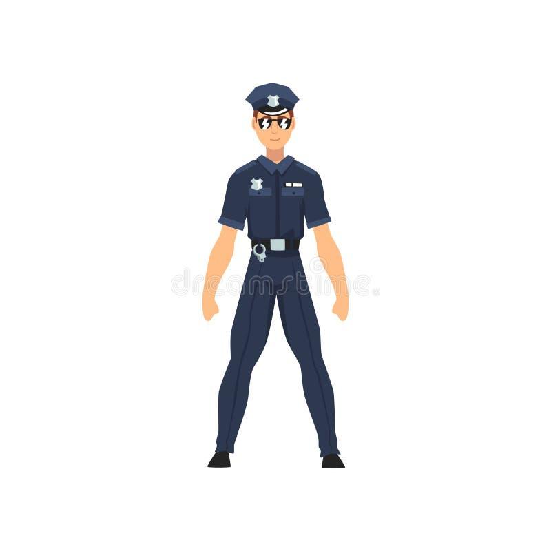 Αστυνομικός ασφάλειας, επαγγελματικός χαρακτήρας αστυνομικών στην ομοιόμορφη και διανυσματική απεικόνιση γυαλιών ηλίου ελεύθερη απεικόνιση δικαιώματος