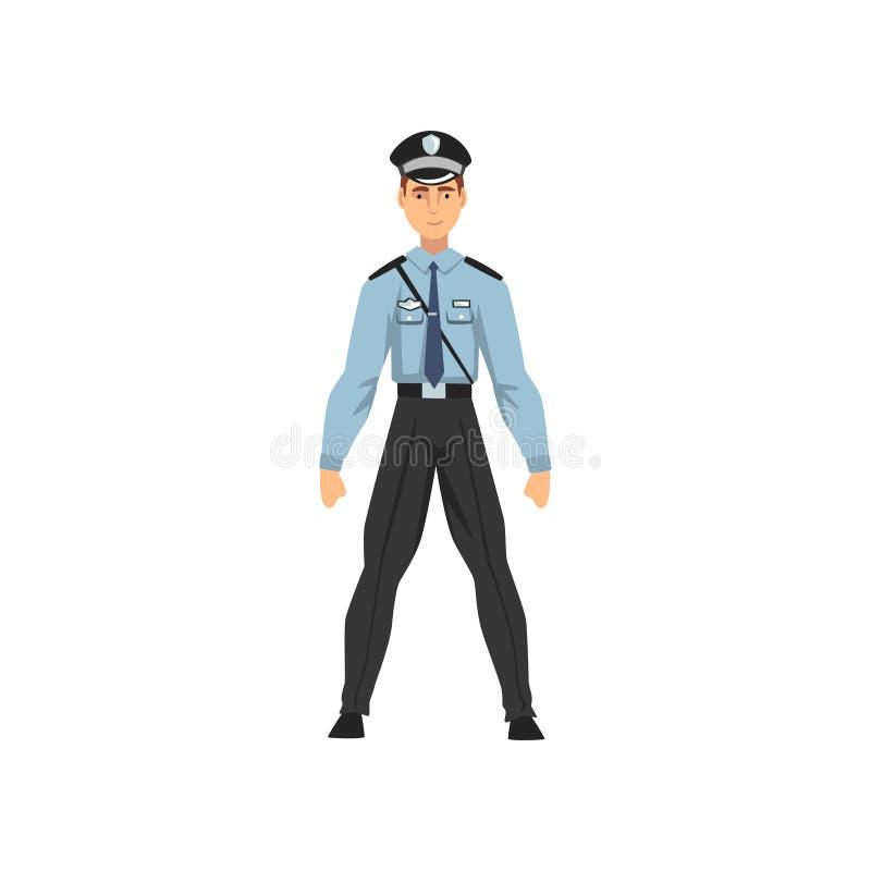 Αστυνομικός ασφάλειας, επαγγελματικός χαρακτήρας αστυνομικών στην ομοιόμορφη διανυσματική απεικόνιση απεικόνιση αποθεμάτων