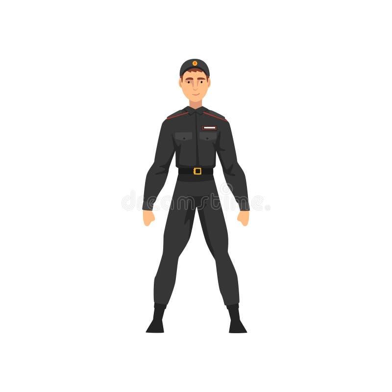 Αστυνομικός ασφάλειας, επαγγελματικός χαρακτήρας αστυνομικών στη μαύρη ομοιόμορφη διανυσματική απεικόνιση διανυσματική απεικόνιση