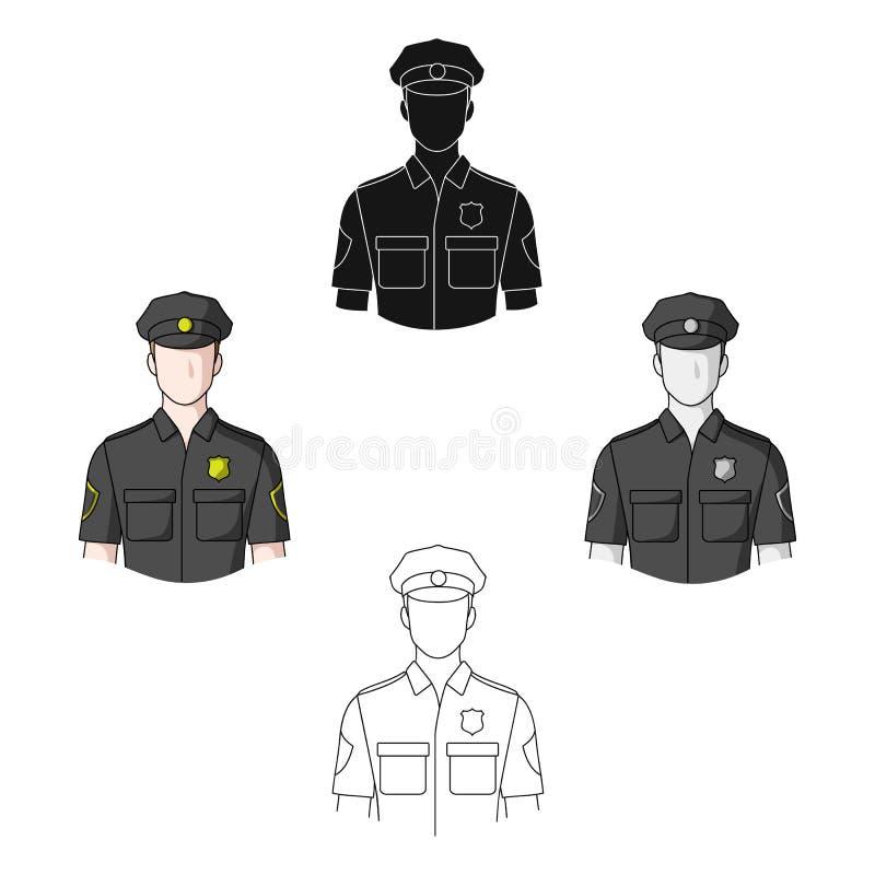 αστυνομικός Ενιαίο εικονίδιο επαγγελμάτων στο διανυσματικό Ιστό απεικόνισης αποθεμάτων συμβόλων ύφους κινούμενων σχεδίων ελεύθερη απεικόνιση δικαιώματος