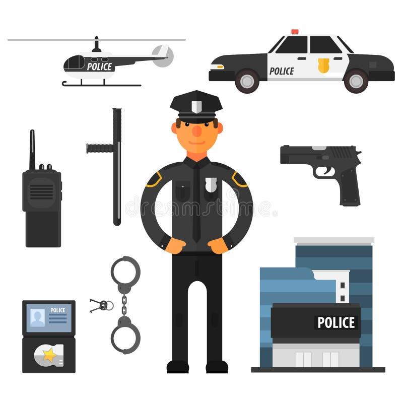 Αστυνομικός, επίπεδο ύφος Αστυνομιών στοιχεία διανυσματική απεικόνιση