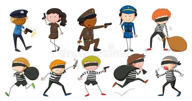 Αστυνομικός και ληστές στις διαφορετικές ενέργειες διανυσματική απεικόνιση