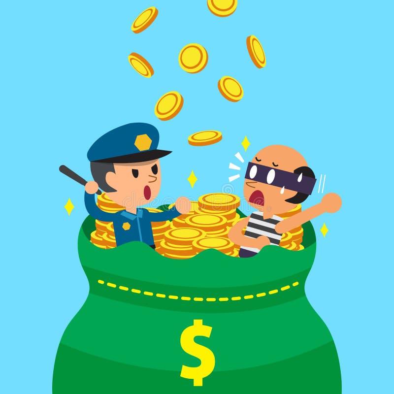 Αστυνομικός και κλέφτης κινούμενων σχεδίων με τη μεγάλη τσάντα χρημάτων απεικόνιση αποθεμάτων