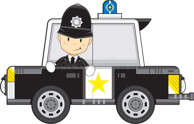 Αστυνομικός και περιπολικό της Αστυνομίας κινούμενων σχεδίων ελεύθερη απεικόνιση δικαιώματος