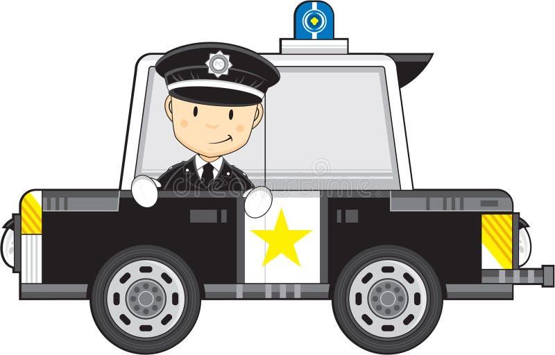 Αστυνομικός και περιπολικό της Αστυνομίας κινούμενων σχεδίων διανυσματική απεικόνιση
