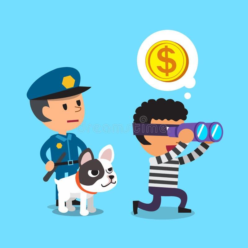 Αστυνομικός κινούμενων σχεδίων που στέκεται πίσω από έναν κλέφτη με το σκυλί απεικόνιση αποθεμάτων
