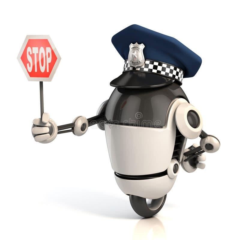 Αστυνομικός κυκλοφορίας ρομπότ που κρατά το σημάδι στάσεων ελεύθερη απεικόνιση δικαιώματος