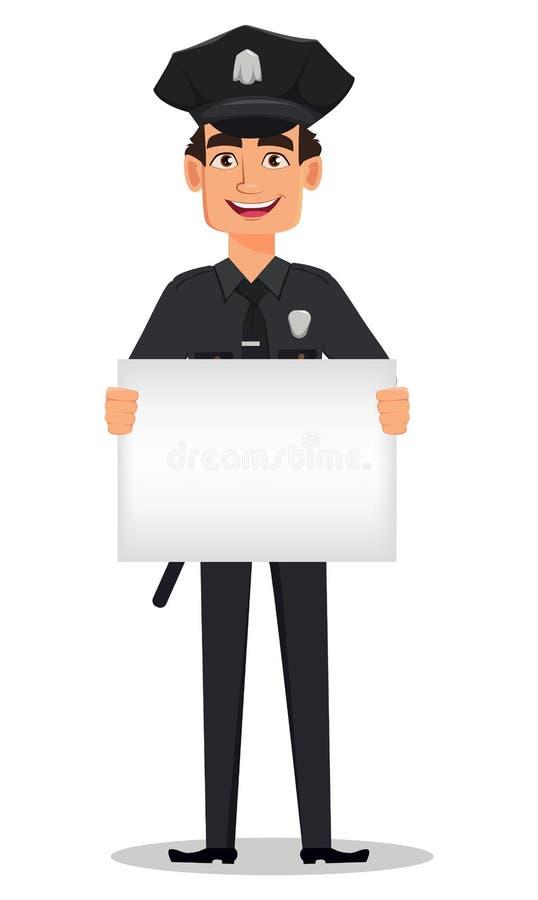 Αστυνομικός, αστυνομικός με μια κενή αφίσσα διανυσματική απεικόνιση