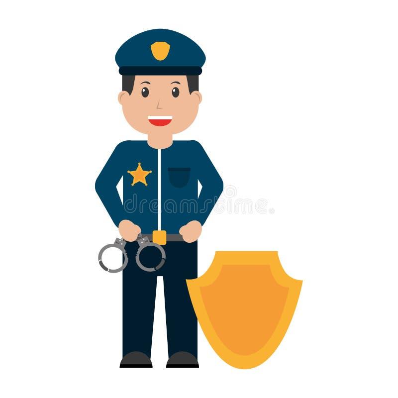 Αστυνομικός με τα διακριτικά ασπίδων χειροπεδών ελεύθερη απεικόνιση δικαιώματος