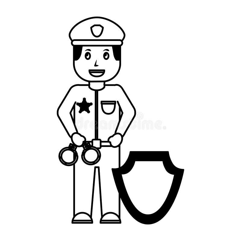 Αστυνομικός με τα διακριτικά ασπίδων χειροπεδών διανυσματική απεικόνιση