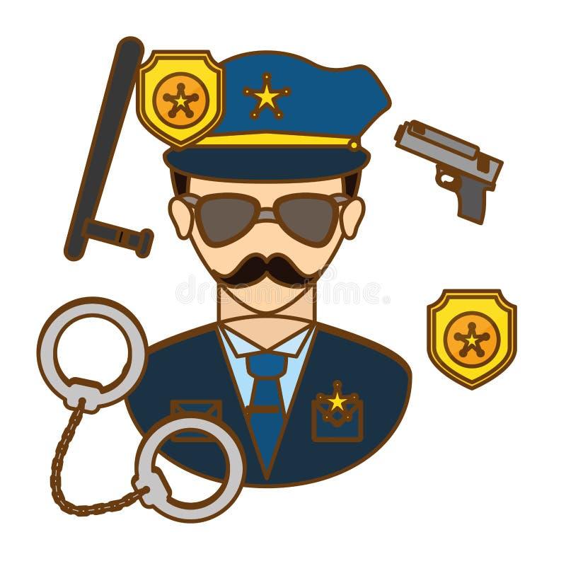 αστυνομικός με την εικόνα εικονιδίων εργαλείων του διανυσματική απεικόνιση