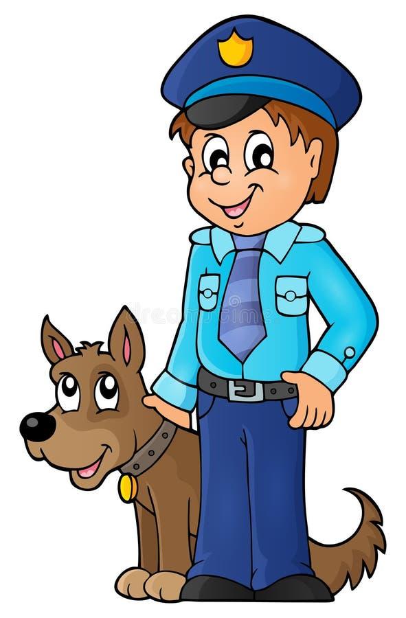 Αστυνομικός με την εικόνα 1 σκυλιών φρουράς ελεύθερη απεικόνιση δικαιώματος