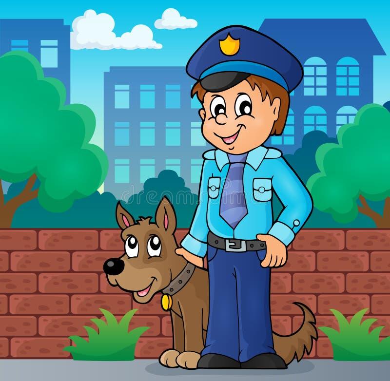 Αστυνομικός με την εικόνα 2 σκυλιών φρουράς διανυσματική απεικόνιση