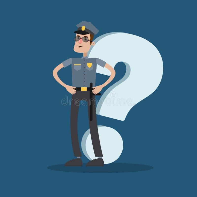 Αστυνομικός με την ερώτηση διανυσματική απεικόνιση
