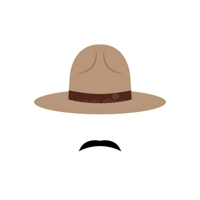 Αστυνομικός με το καναδικά καπέλο και mustache το εικονίδιο απεικόνιση αποθεμάτων
