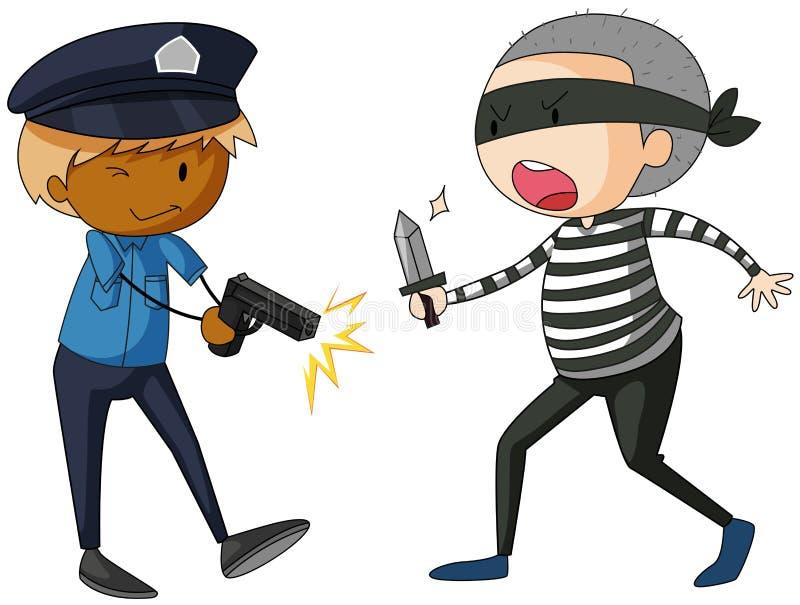 Αστυνομικός με το πυροβόλο όπλο και ληστής με το μαχαίρι ελεύθερη απεικόνιση δικαιώματος