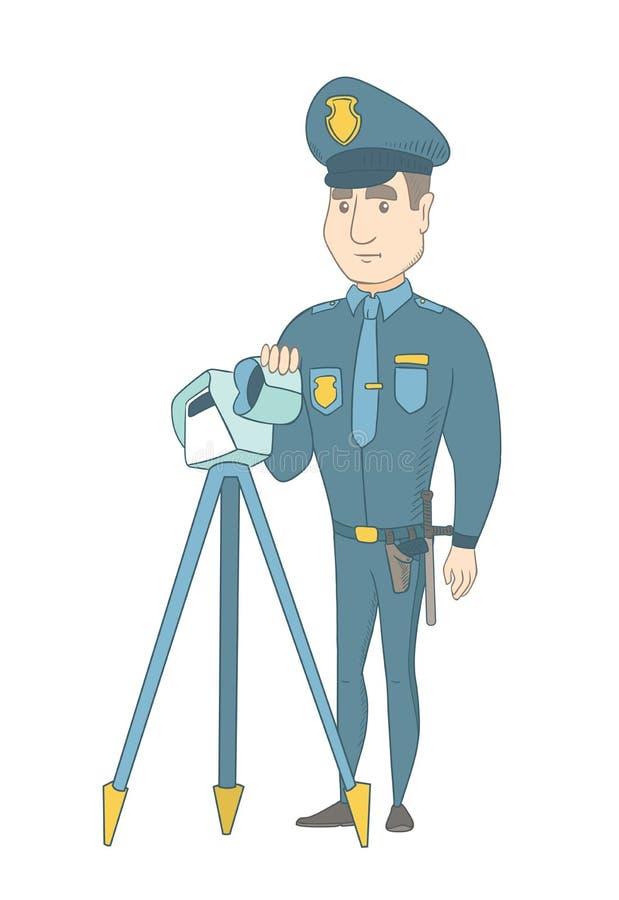 Αστυνομικός με το ραντάρ για τον έλεγχο ταχύτητας κυκλοφορίας ελεύθερη απεικόνιση δικαιώματος
