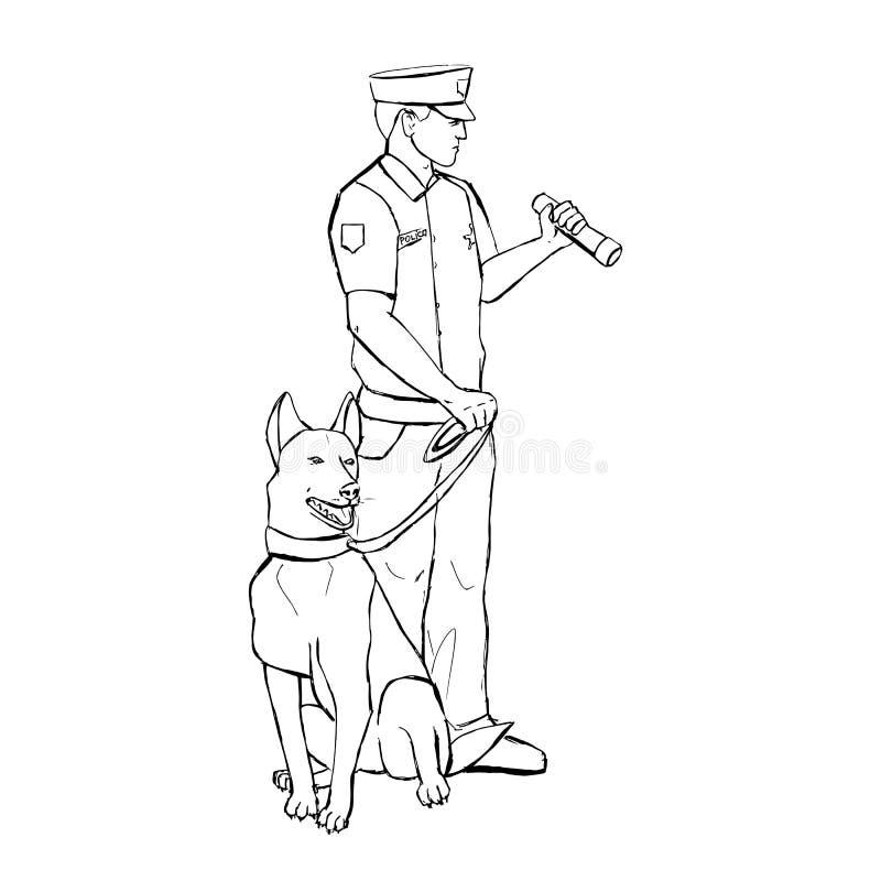 Αστυνομικός με το σκυλί διανυσματική απεικόνιση