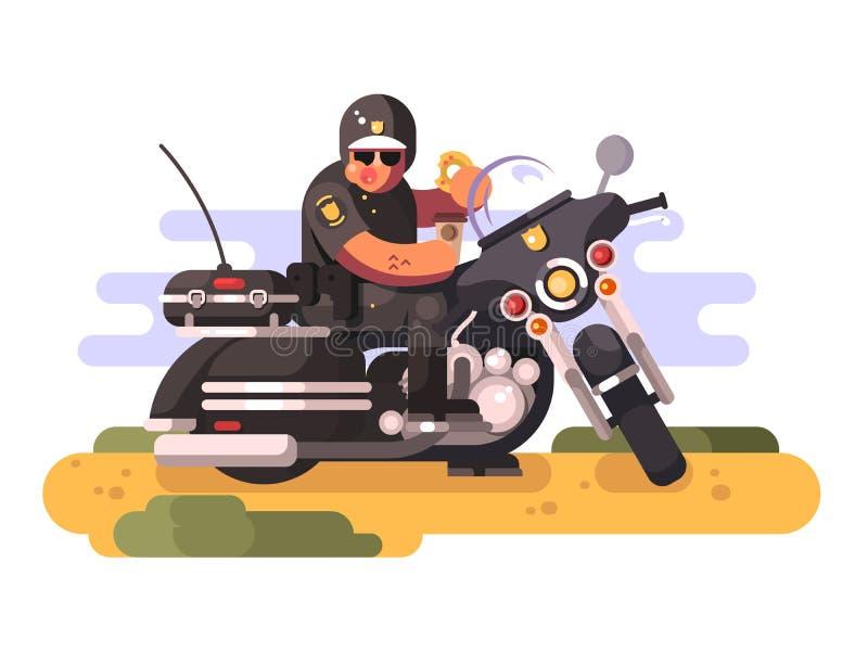Αστυνομικός με doughnut και καφές στη μοτοσικλέτα ελεύθερη απεικόνιση δικαιώματος