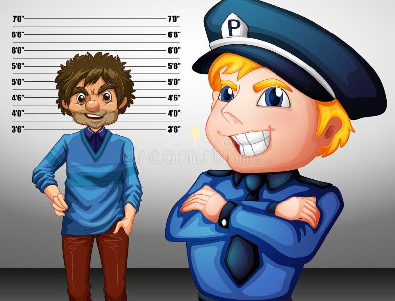 Αστυνομικός ομοιόμορφος και εγκληματικός διανυσματική απεικόνιση