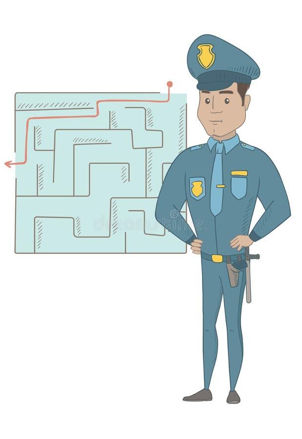 Αστυνομικός που εξετάζει το λαβύρινθο με τη λύση ελεύθερη απεικόνιση δικαιώματος