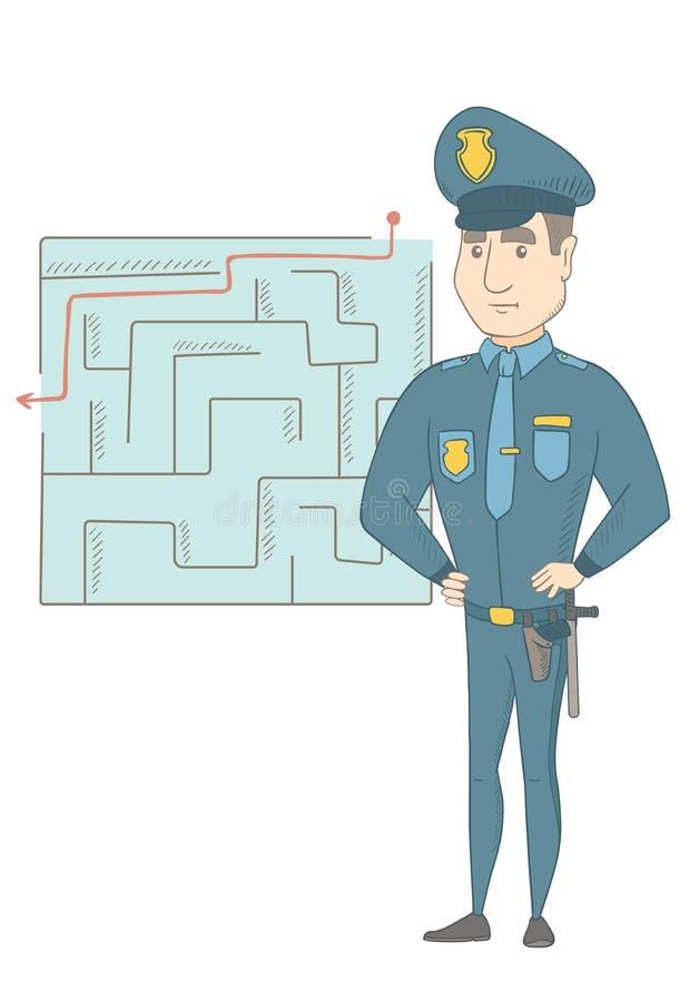 Αστυνομικός που εξετάζει το λαβύρινθο με τη λύση διανυσματική απεικόνιση
