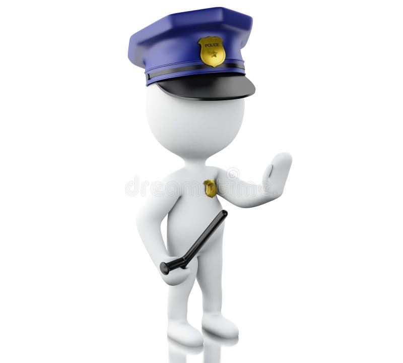 αστυνομικός που διατάζεται τρισδιάστατος για να σταματήσει με το χέρι ελεύθερη απεικόνιση δικαιώματος