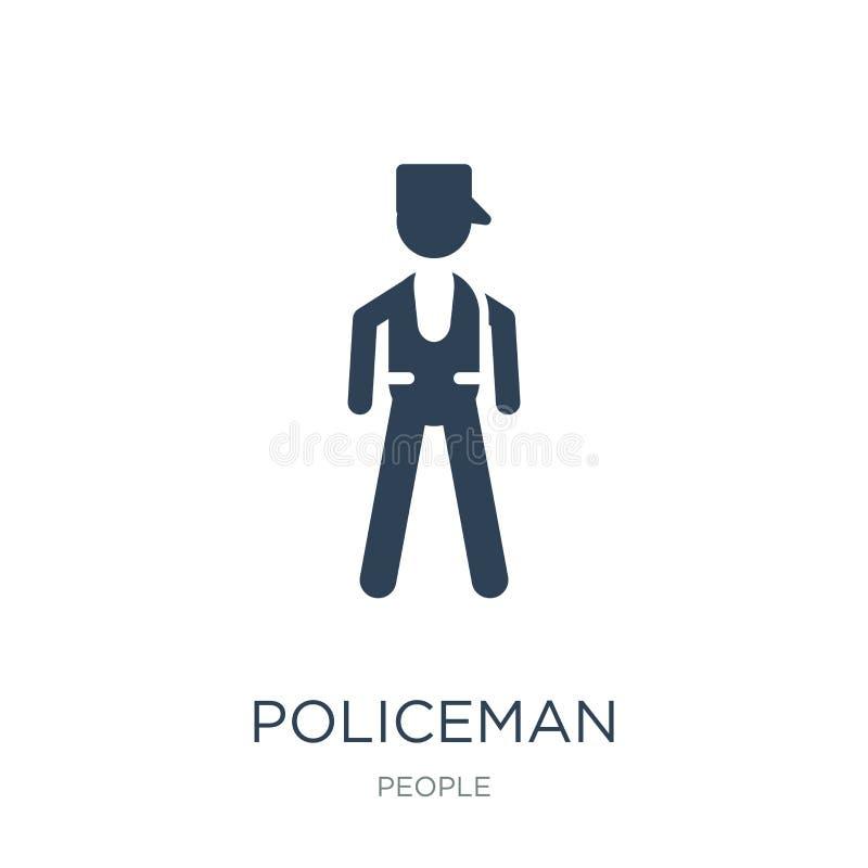 αστυνομικός που στέκεται επάνω το εικονίδιο στο καθιερώνον τη μόδα ύφος σχεδίου αστυνομικός που στέκεται επάνω το εικονίδιο που α ελεύθερη απεικόνιση δικαιώματος