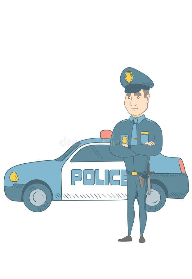 Αστυνομικός που στέκεται μπροστά από το περιπολικό της Αστυνομίας διανυσματική απεικόνιση