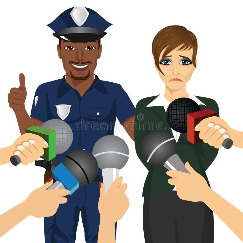 Αστυνομικός που συλλαμβάνει την υπαλληλική διεφθαρμένη επιχειρηματία ενώ δημοσιογράφος που παίρνει συνέντευξη από τον απεικόνιση αποθεμάτων
