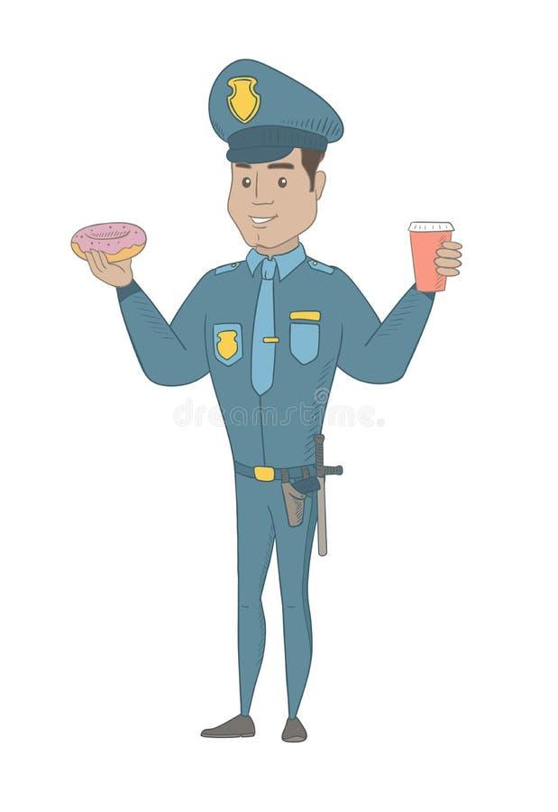 Αστυνομικός που τρώει doughnut και που πίνει τον καφέ ελεύθερη απεικόνιση δικαιώματος