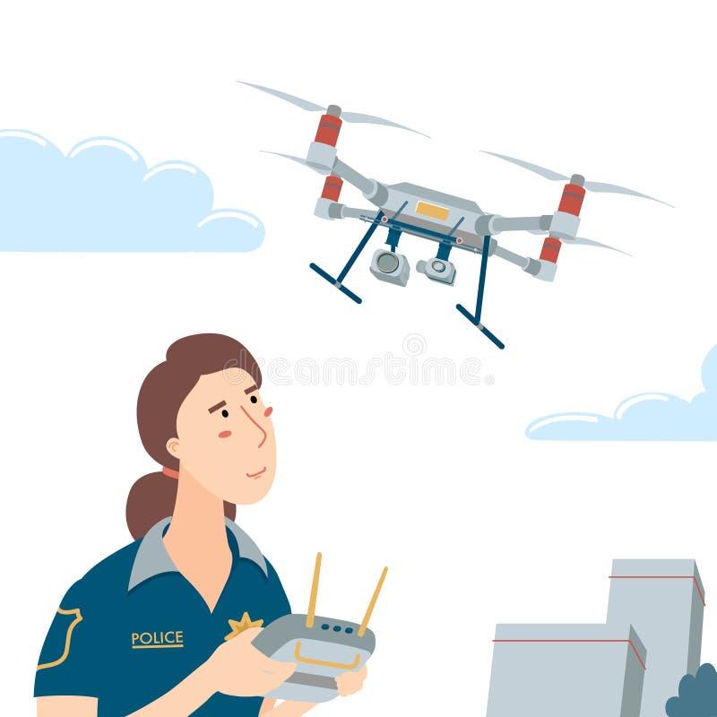 Αστυνομικός που χειρίζεται drone με τηλεχειριστήριο ελεύθερη απεικόνιση δικαιώματος