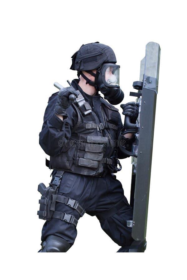 Αστυνομικός σε μια μάσκα αερίου στοκ φωτογραφίες με δικαίωμα ελεύθερης χρήσης