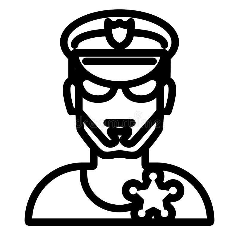 Αστυνομικός στα γυαλιά και το εικονίδιο γραμμών καπέλων Απεικόνιση προσώπων ασφάλειας που απομονώνεται στο λευκό Ύφος περιλήψεων  διανυσματική απεικόνιση