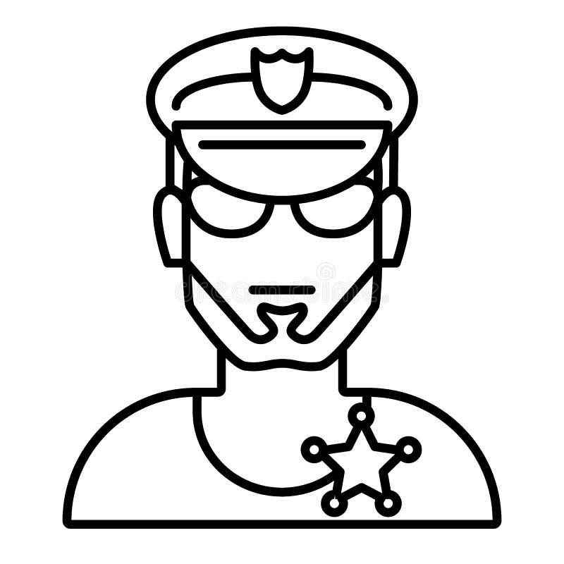Αστυνομικός στα γυαλιά και το λεπτό εικονίδιο γραμμών καπέλων Απεικόνιση προσώπων ασφάλειας που απομονώνεται στο λευκό Περίληψη ε απεικόνιση αποθεμάτων
