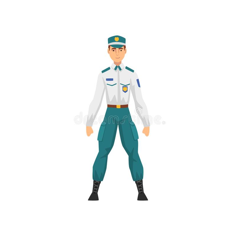 Αστυνομικός στην ομοιόμορφη, επαγγελματική διανυσματική απεικόνιση χαρακτήρα αστυνομικών απεικόνιση αποθεμάτων