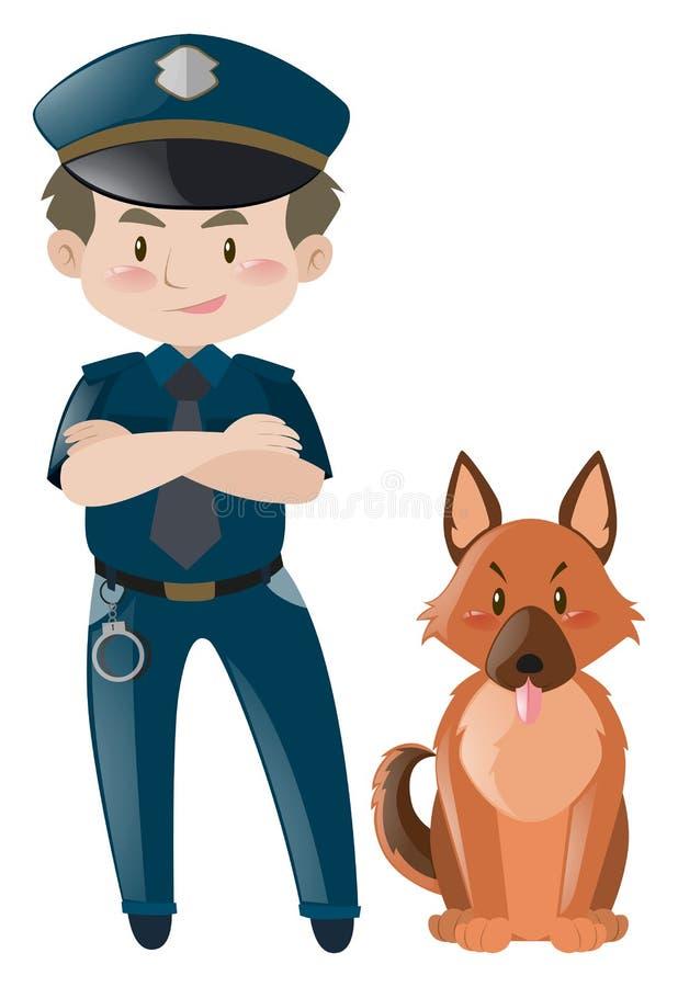 Αστυνομικός στην ομοιόμορφη στάση με το σκυλί απεικόνιση αποθεμάτων