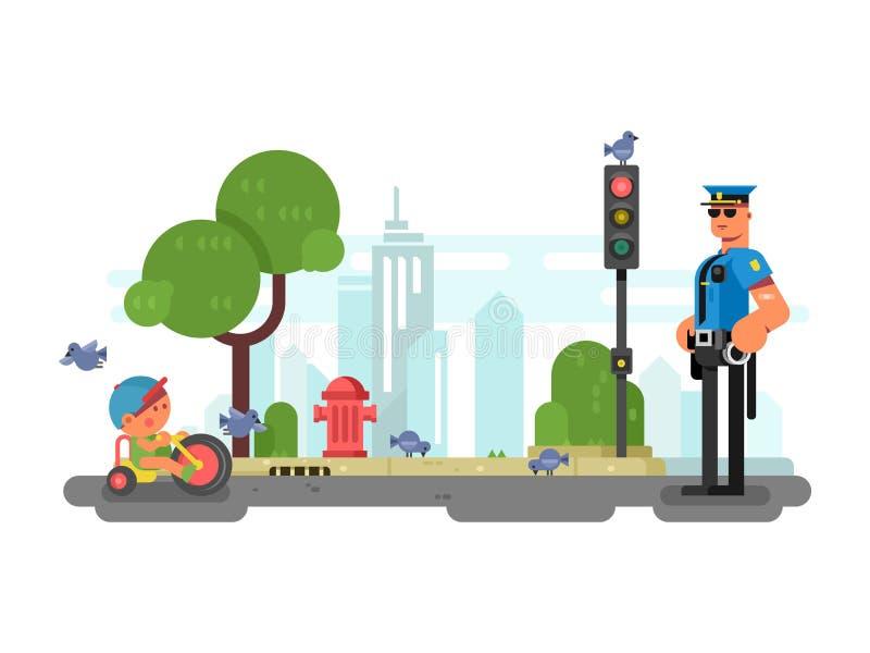 Αστυνομικός στην οδό πόλεων ελεύθερη απεικόνιση δικαιώματος
