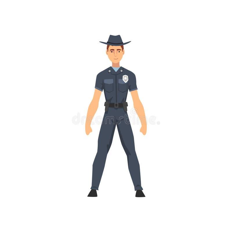 Αστυνομικός στη διανυσματική απεικόνιση χαρακτήρα ομοιόμορφων, αστυνομικών σερίφηδων διανυσματική απεικόνιση