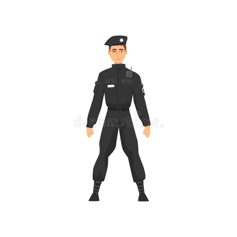 Αστυνομικός στη μαύρη ομοιόμορφη, επαγγελματική διανυσματική απεικόνιση χαρακτήρα αστυνομικών απεικόνιση αποθεμάτων