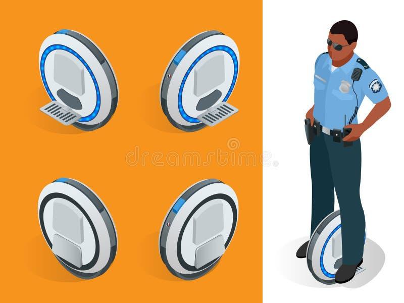 Αστυνομικός στις ένας-κυλιεισμένες μόνος-ισορροπώντας ηλεκτρικές διανυσματικές isometric απεικονίσεις μηχανικών δίκυκλων Ευφυής κ απεικόνιση αποθεμάτων