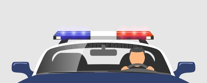 Αστυνομικός στο περιπολικό της Αστυνομίας διανυσματική απεικόνιση