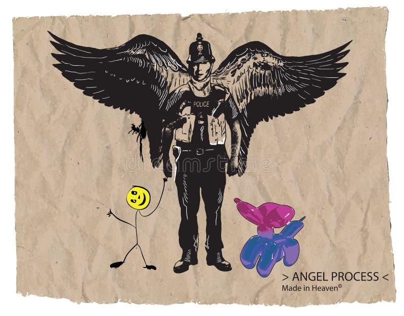 Αστυνομικός του Bobby - ένα συρμένο χέρι διανυσματικό, κωμικό ύφος διανυσματική απεικόνιση